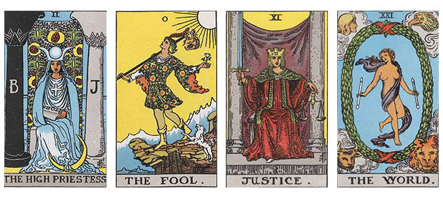 Some of the Major Arcana from the classic Rider-Waite tarot deck.