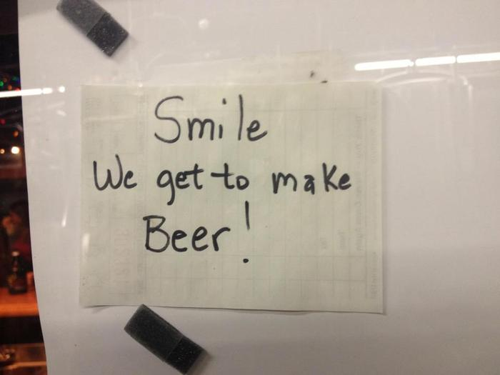 Smile! sign in brewing facility