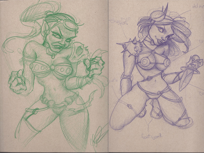 Two sketches of soon to be Glamazons!