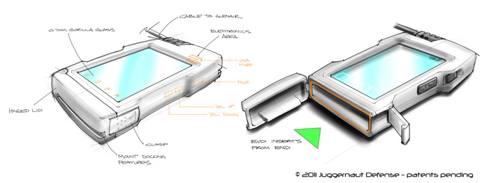Initial Sketches of the End-Opening Juggernaut.Case™ design