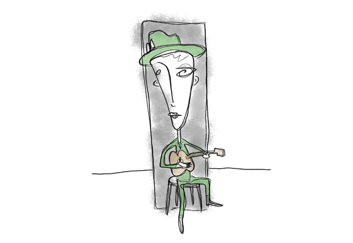 Guitarist in a Green Suit