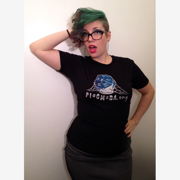 PlaGMaDA.org shirt modeled by Anja Keister of D20 Burlesque