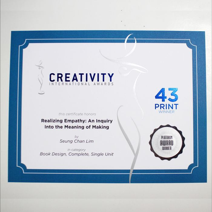 Platinum Award (Best in Category) in Book Design, Complete, Single Unity at 43rd Creativity International Awards