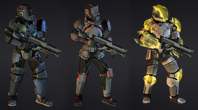 Renders of multiple Soldier class armor sets.