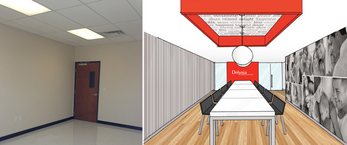 Lobby & Meeting Space: left (before), right (after)