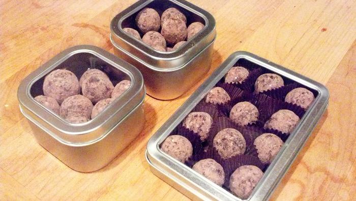 Reusable tins, Vanilla Porter homebrew dark chocolate hand-rolled truffles