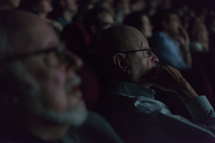 Jules Feiffer watching the film. He loved it!