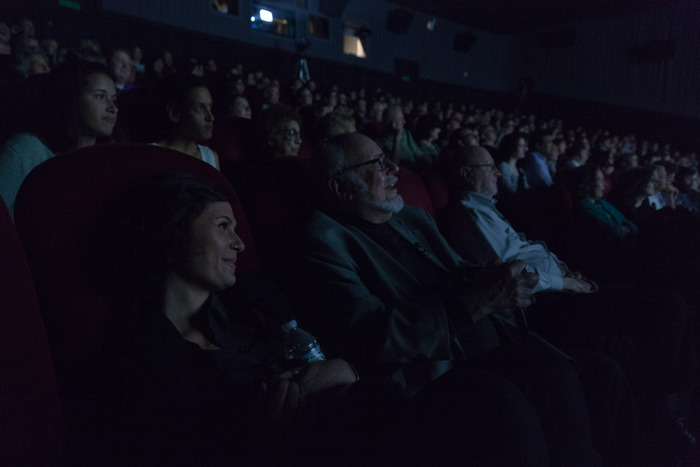 Norton Juster and audience enjoying the film