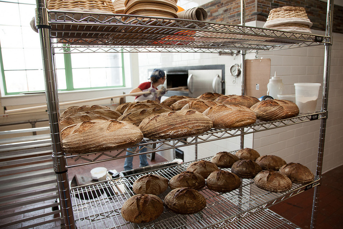 Freshly baked bread at Peerless Bread & Jam, a start-up bakery at The Plant specializing in whole-grain naturally leavened breads and seasonal small batch jams.