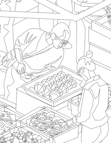 Sample coloring page from the Tokyo fish market.