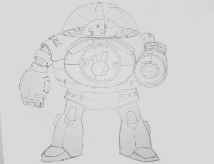 Babee's Mech Warrior Suit Concept Sketch