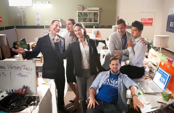 Left to right: James McCoy as Richard, Lisa Roumain as Sheryl, Amber Rivera as Jamie, John Dana Kenning as Nick, David Currier as Doug, Justin Alastair as Benjamin