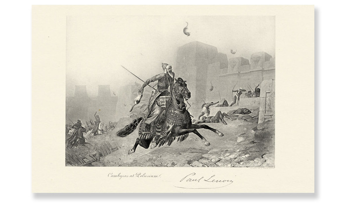 "Le Roi Cambyse au Siege de Peluse by Paul Marie Lenoir. Steel etching, 1872. [RISO: Black Ink on 18•12"" natural tone paper]"