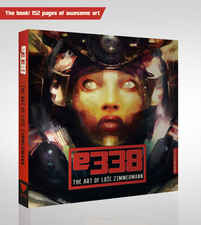 Here is a mock-up of the e338: The Art of Loïc Zimmermann book cover featuring one of the girls from the incredible Binaural series