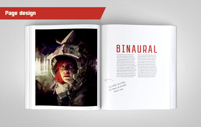 Here is an early mock-up of a spread in the book. This one features one of the Binaural girls too! Every effort will be made to ensure this book is clean and reflects the styling of Loïc's impressive portfolio