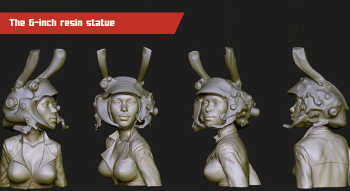These renders from ZBrush show the work-in-progress model for the resin statue. The final version may differ due to casting requirements