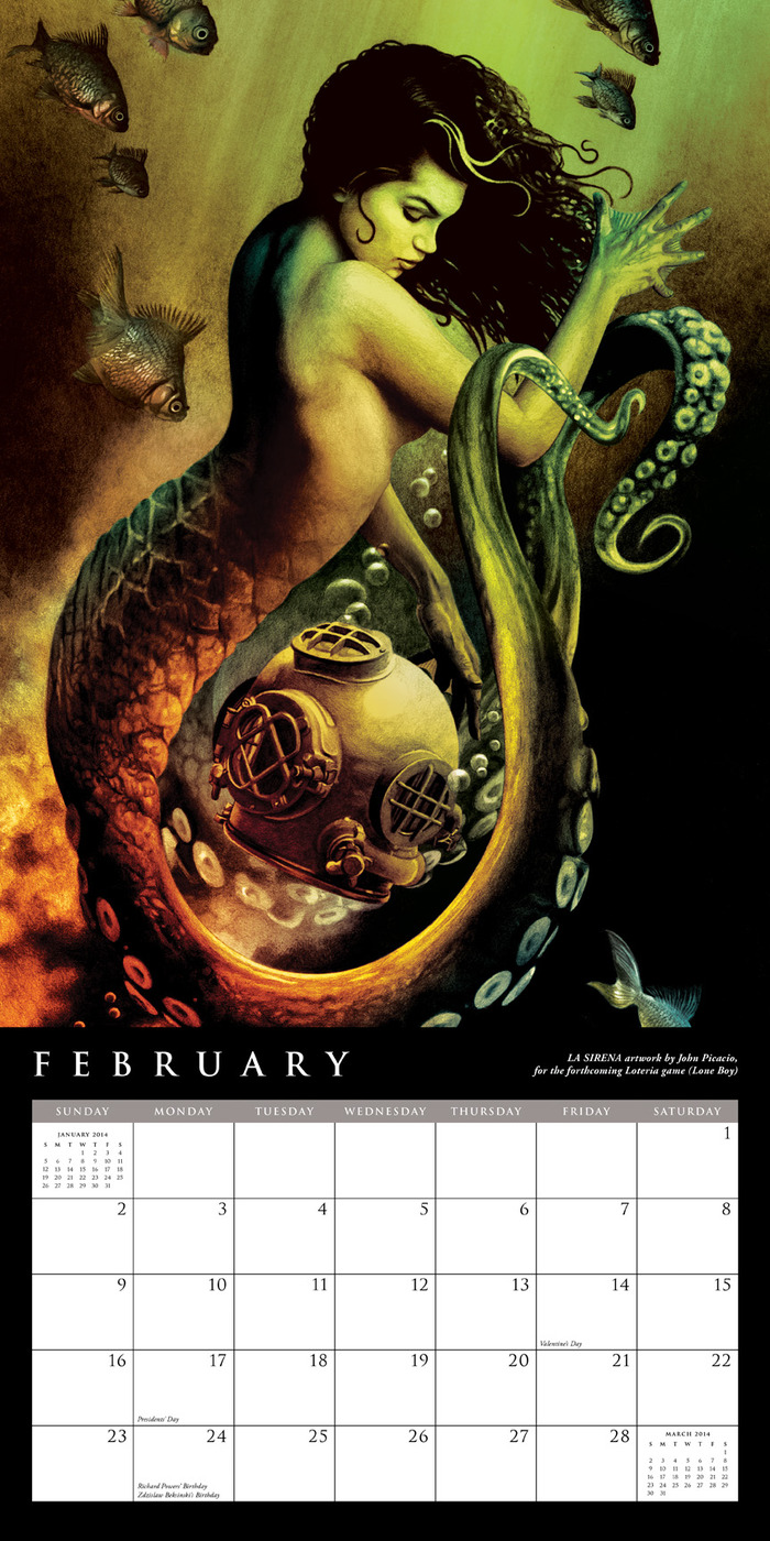 February layout for the 2014 John Picacio Calendar, featuring the Chesley Award-winning artwork LA SIRENA.