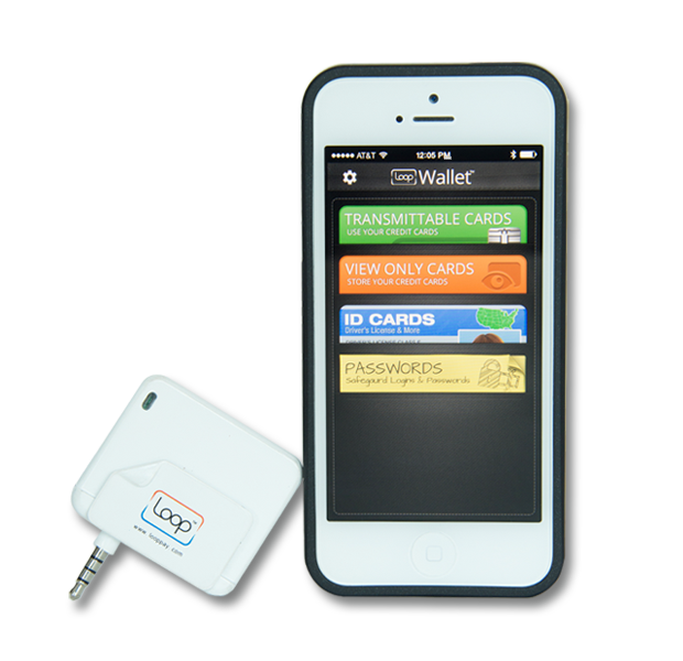 The Loop Fob with the LoopWallet App. The dimensions of the Fob are: 1.5 in x 1.65 in x .21 in.