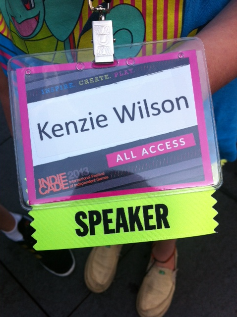 My IndieCade Speaker Badge