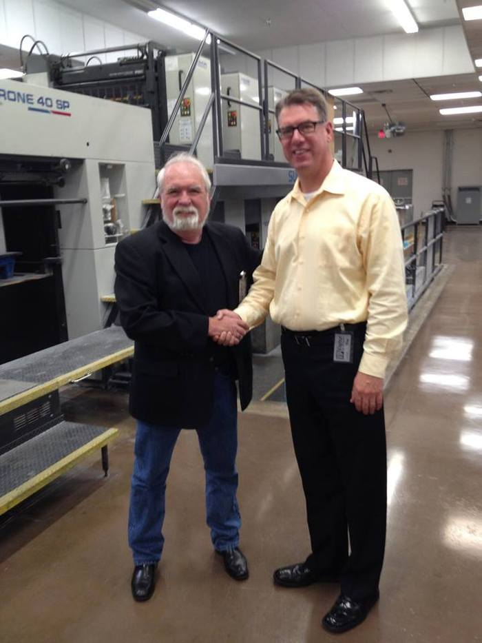 Here with our sales rep Mark McComb at the Covington Group print facilities in Dallas TX.