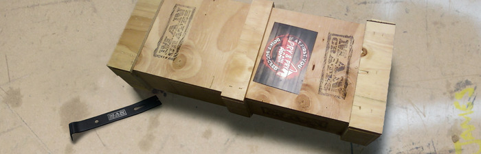 Ship your poker case in an AK47 style wooden Man Crate