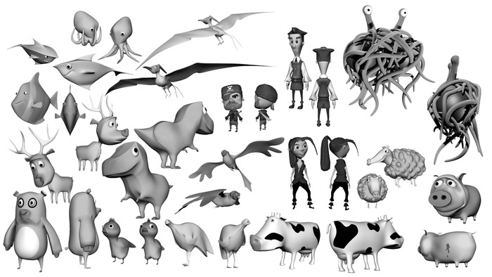 first draft of our character designs for all the world's important animals, as created by his noodliness