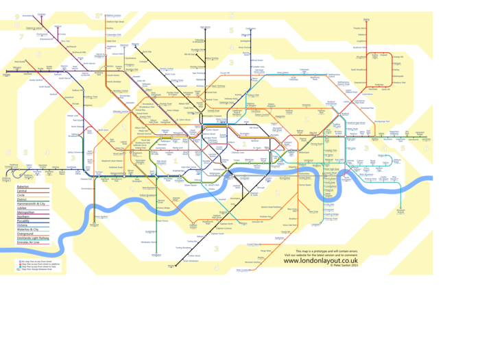 Latest Tube map showing zones