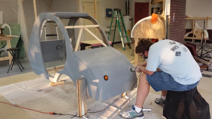 Jonathan Installing headlights.
