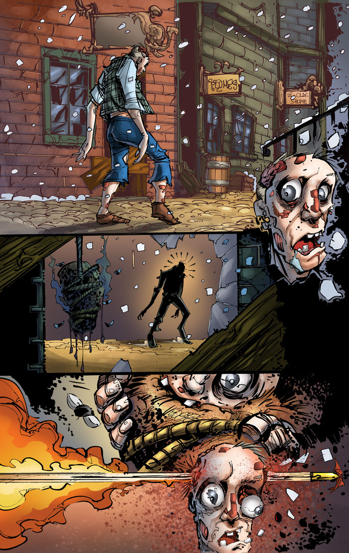 The first page from Cazadora. Art by Randy Kintz and colors by John Hunt.