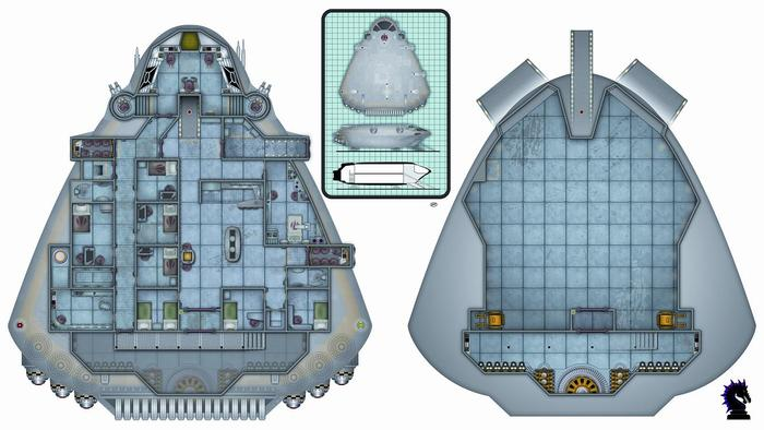 Small Starship Map Semi Complete, with crew and passenger compartments, two-story engine room with catwalk, large cargo bay, and extendable loading ramp