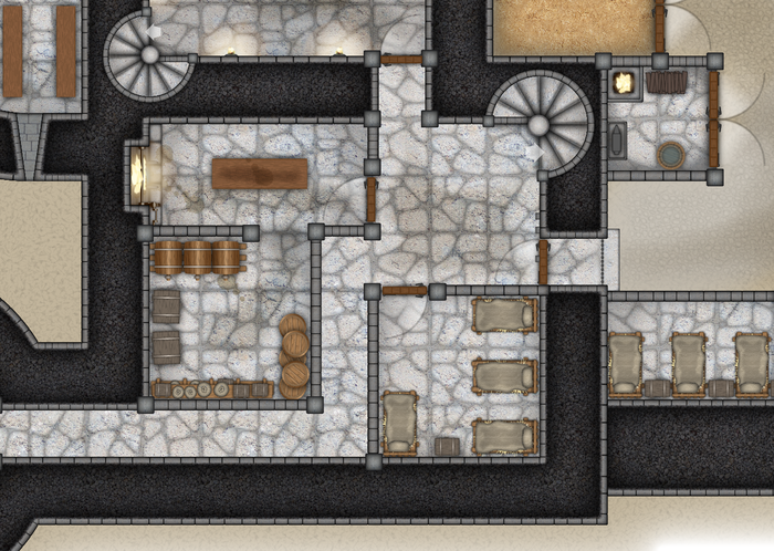 The artistry in the maps will be beautiful at full size, chock full of scenery to add flair to your adventures. The castle detail includes some fully-furnished rooms and some empty rooms, for you to fill. (Click the image to zoom.)