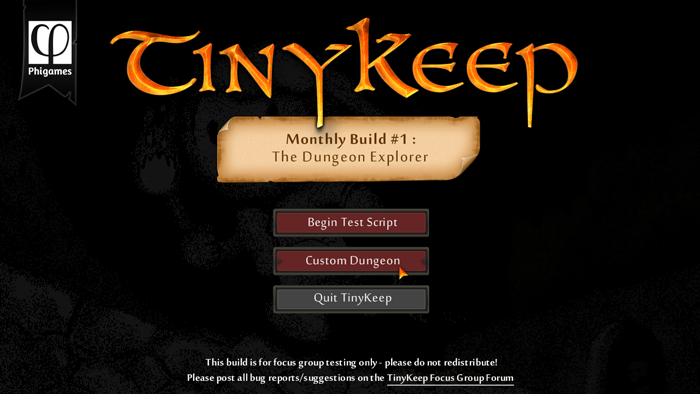 Title screen, with fully scaleable buttons and parchment for future UI elements