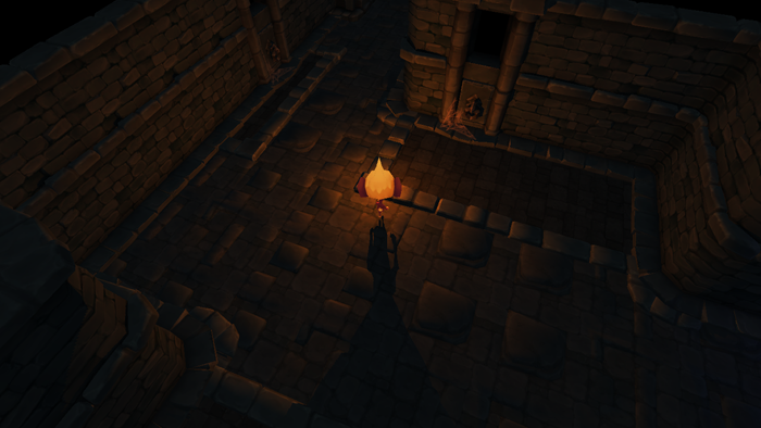 Finally, just for fun - a screenshot showing one of our glowing imp monsters. This one has a self-illuminated head, I like the lighting on this shot! :)