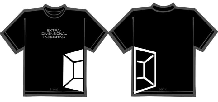 Black t-shirt with the Extra-Dimensional Publishing Logo
