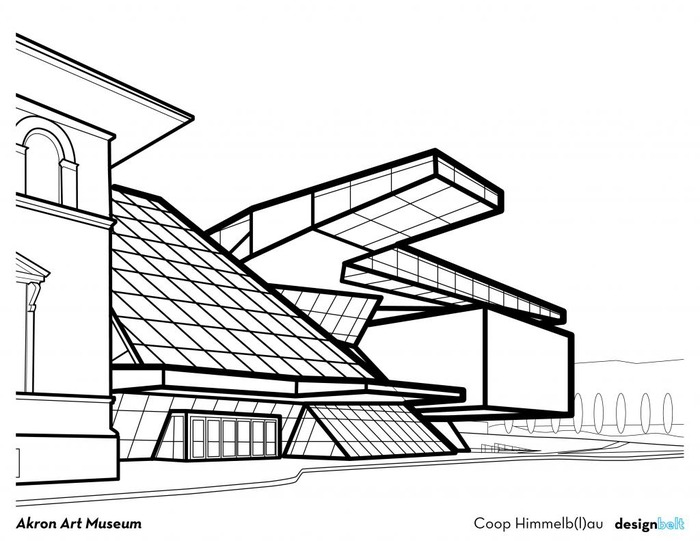 akron art museum now added to the cleveland architecture coloring book        kickstarter Mosaic Coloring Book  Cleveland Architecture Coloring Book