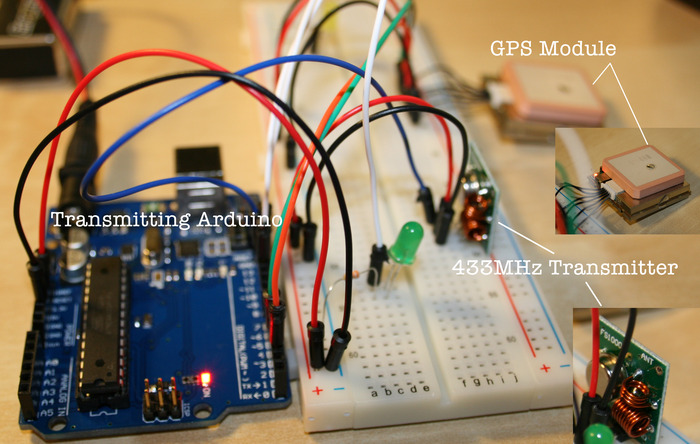 Arduino with GPS module and 433MHz Transmitter