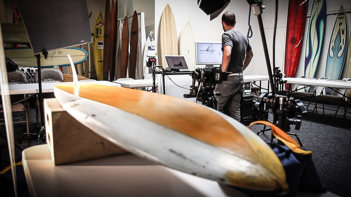 Photographing a George Greenough Spoon at the Surfing Heritage and Cultural Center.