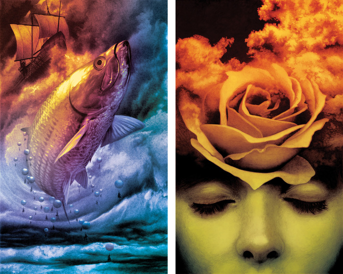 (left) EL PESCADO / (right) LA ROSA. Artworks by John Picacio featured in the 2014 Calendar.