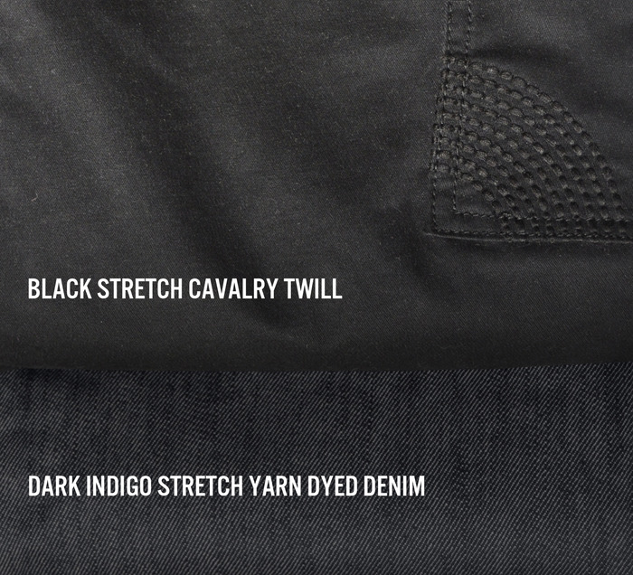 Lane Trouser is available in Black Cavalry Twill and Dark Indigo Denim