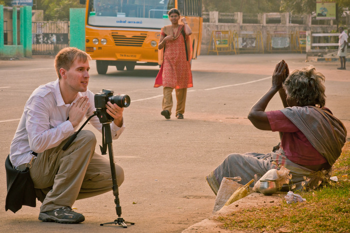 Filming on location in Madurai, India