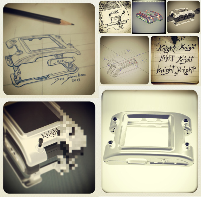 Development process: Sketching, logo design process, 3D development, engineering, rendering and prototype.
