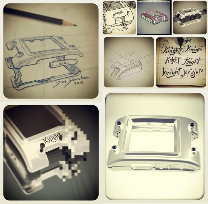 Development process: Sketching, logo design process, 3D development, engineering, rendering and prototype.