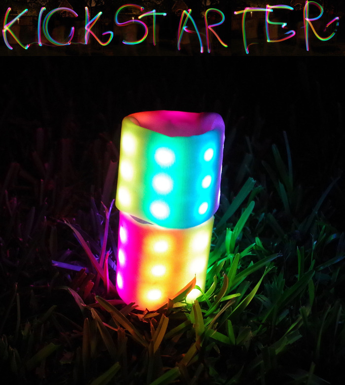 """Kickstarter"" written using the Sebbo as a light paintbrush in a long exposure photo."