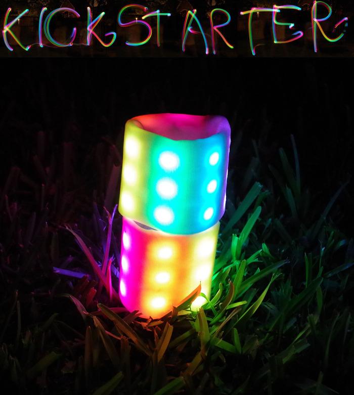 """Kickstarter"" written using the Sebbo as a light paintbrush in a long exposure photo."