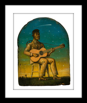 "A limited signed and numbered 10""x 12"" art print of Blind Willie Johnson by Marc Burckhardt on 16""x 18"" archival watercolor paper with 3"" deckled border."