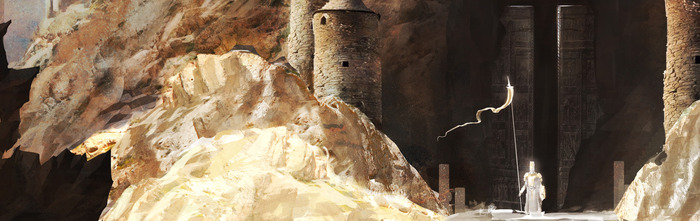 Entrance to the Tarnum Caverns. Concept Art by Brett MacDonald.