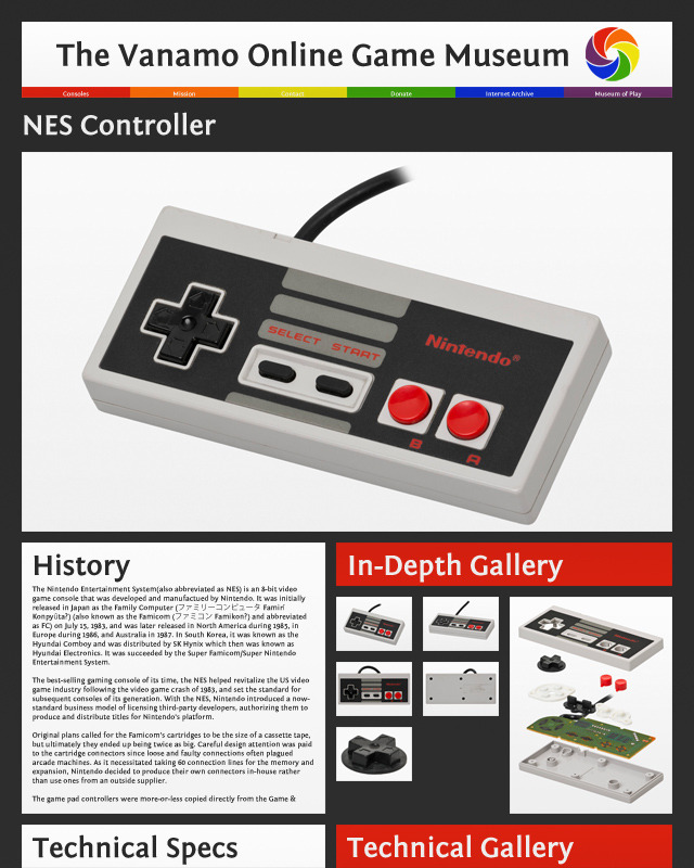 The final level: individual pages for console controllers, components and accessories