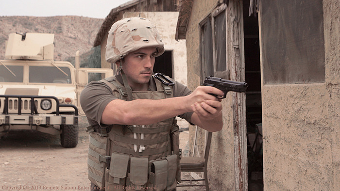 Andrew Montanez plays private military contractor in a scene from False Colors.
