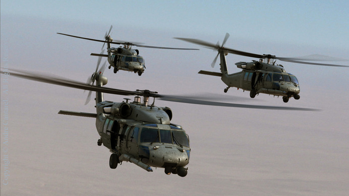 Pave Hawks en route over Iraq in a scene from False Colors.