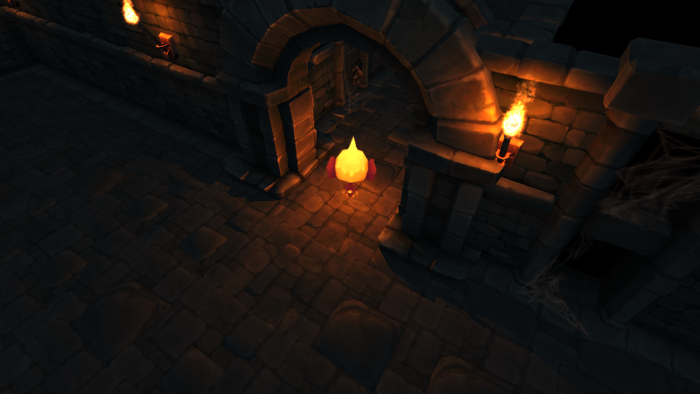 Every dungeon needs a healthy amount of torch light. Here I'm experimenting with HDR bloom post-processing effects, which gives the fire particles an intense glow and blur. It's a nice effect, but it'll be an option you can turn off for performance